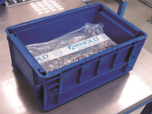 Arnold-Cleanpac. Rozměrné upevňovací součástky jsou bezpečně zabalené v obalech speciálně určených pro součásti, u nichž je čistota kritickou vlastností. Obaly zabraňují relativnímu pohybu součástí, který může být zdrojem vzniku kovových částic.