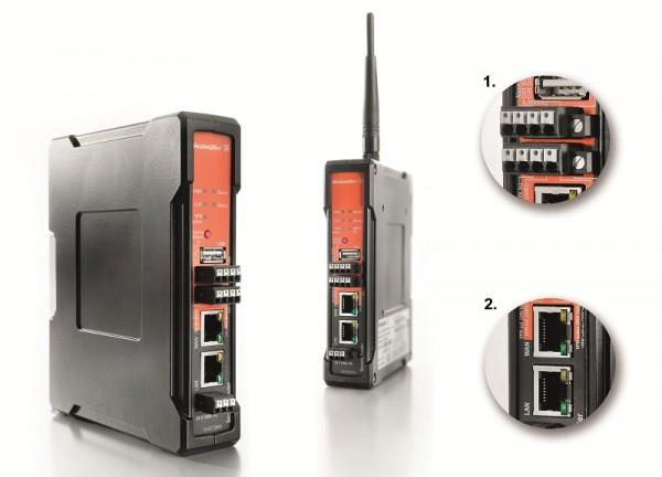 Weidmüller Gigabit Security Router: zabezpečená komunikace mezi ethernetovými sítěmi s integrovanými funkcemi vzdálené údržby v průmyslových sítích prostřednictvím VPN. Detail 1: předkonfigurované připojení VPN může být aktivováno nebo deaktivováno a připojení k portu WAN odpojeno prostřednictvím digitálního vstupu na routeru nebo s využitím softwaru z integrované serveru Modbus TCP. Detail 2: gigabitové rozhraní na obou ethernetových portech umožňuje dosáhnout nejvyšší kapacity přenosu dat i v případě šifrovaných přenosů přes VPN.