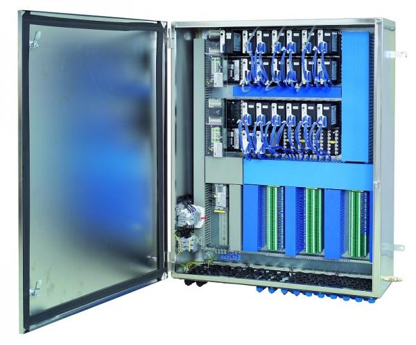 Systém Remote I/O FB a ranžírovací svorky v rozváděčové skříni z korozivzdorné oceli určené do zóny 1