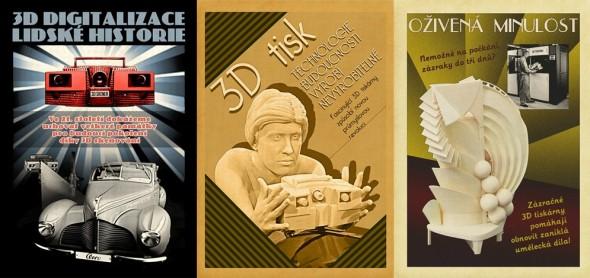 Příležitosti k využití současných 3D technologií poslancům (a nejen jim) názorně ilustrují historizující plakáty, které připravila redakce časopisu Konstruktér. Zdroj: Vydavatelství Nová média