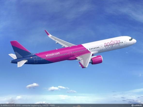 Airbus A321neo pro maďarskou nízkonákladovou společnosti Wizz Air. Foto Airbus, počítačová modelace Fixion-MMS