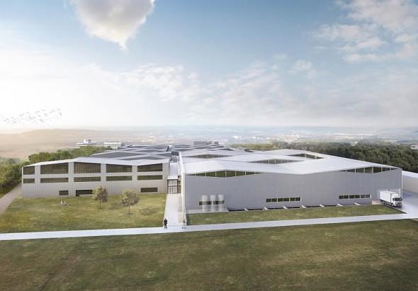 Pohled ze západu ukazuje, jak se novostavby připojí na stávající strukturu budov, navržených taktéž kanceláří Barkow Leibinger. Obrázek: Barkow Leibinger