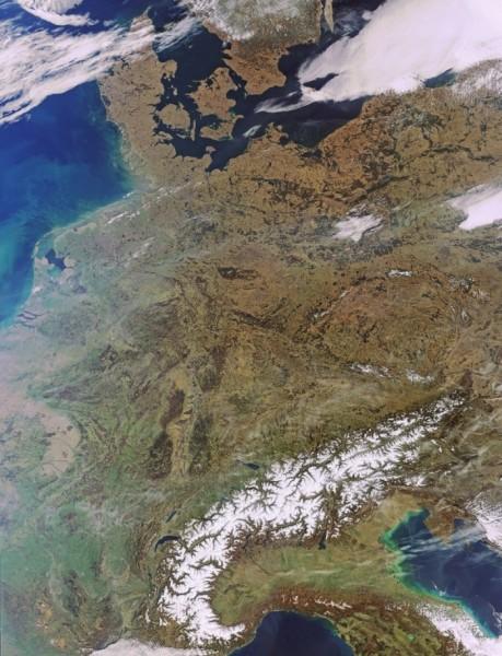 Centrální Evropa okem družice. Foto: ESA