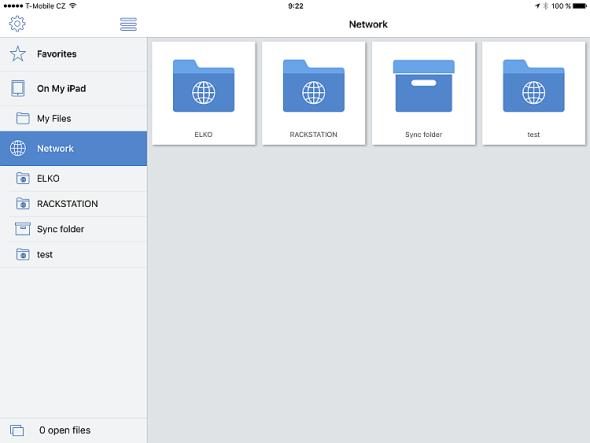 Acronis Access iPad home. Zdroj: Acronis