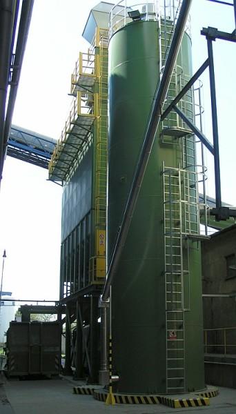 Zásobník zařízení na snížení emisí oxidů síry. Foto: Rockwool