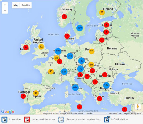 Počet CNG stanic v Evropě. Zdroj: Bonett Gas Investment