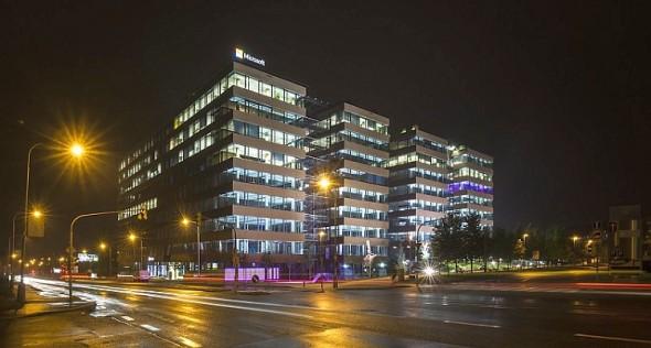Budova DELTA, noční pohled. Zdroj: ABB ČR