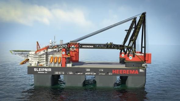 Vizualizace: plavidlo Sleipnir s jeřáby. Zdroj: Huisman