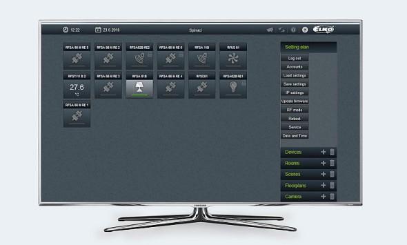 Ovládání domu z obrazovky televizoru. Zdroj: Elko EP