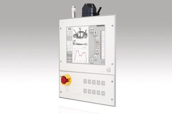 Operátorský panel B&R se snadnou údržbou. Zadní kryty se čtyřmi rychlouzávěry zajišťují rychlý a snadný přístup k displeji i tlačítkům.